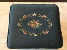 Antique/Vintage Foot Stool Needlepoint Flowers  Roses on Blue Background