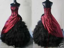 Hot Burgundy Black Corset Ball Gown Victorian Gothic Bridal Gowns Wedding Dress