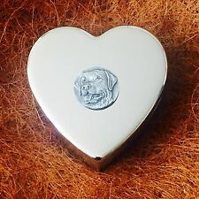 Silver Plated Trinket Pill Jewellery Box with Antique Pewter Labrador Dog