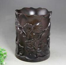 Old Chinese Wood Ancient Lotus Leaf Flower Brush Pot Pencil Holder Vase Statue