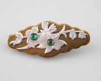 9925247  Florale Brosche antik Art deco gold-/silberfarben grüne Steine