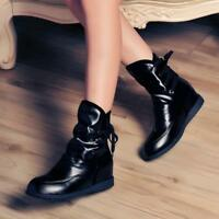 Chic Womens Lace Up  High Top Ankle Boots Wedge Sneakers Hidden Heels Shoes New