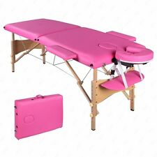"""2 Folds Massage Table Facial Spa Bed Tattoo With Carry Case 84""""L Portable Pink"""