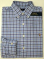 NWT $89 Polo Ralph Lauren LS Shirt Mens M L XL XXL Blue Plaid Cotton Oxford NEW