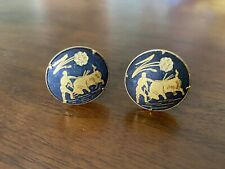 Round Vintage Black Gold Unmarked Damascene Matador Cuff Links Bull Bullfighter
