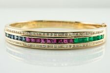 Diamond Emerald Ruby Sapphire Bracelet 14K Gold Bangle