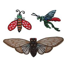 ID 1605ABC Set of 3 Assorted Insect Bug Patches Embroidered Iron On Applique