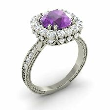 2.29 Ct Round Cut Amethyst & G/SI Diamond 14k White Gold Halo Ring, Certified