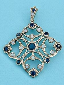 Yellow gold Victorian Style Sapphire And Opal Pendant