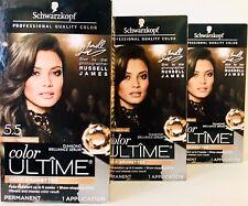 3 Boxes Schwarzkopf Color Ultime 5.5 Medium Parisian Brown Permanent Hair Dye