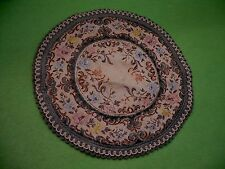Gorgeous & colorful vintage round BELGIUM made miniature rug ' CHATEAU ' pattern