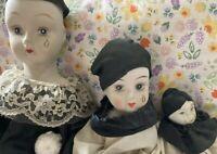 Set of 3 Pierrot style Teardrop Porcelain Dolls Mime/Theater Clowns - Vintage