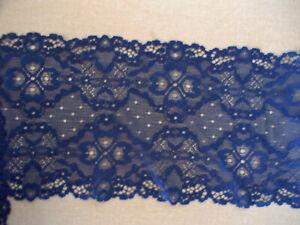2.9m Blue Light Navy Blue STRETCH soft shaped floral lace