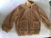 Fluffy Zip Up Winter Teddy Coat Light Brown Size M Two Front Patch Pockets .