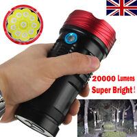 20000 Lumen 10x XML T6 LED Flashlight Torch Tactical Camping Hunting Work Lamp