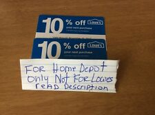 2 10% Off HOME DEPOT ONLY Blue Card-Coupons Lowes (Exp 12/15/2017)