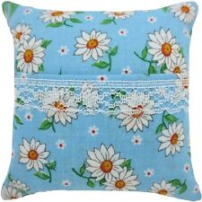 Tooth Fairy Pillow, light blue, daisy print fabric, white lace trim for girls