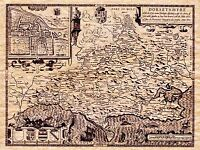 MAP ANTIQUE 1610 SPEED DORSET HUNDREDS DORCHESTER REPLICA POSTER PRINT PAM1611