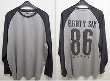 NEU Übergröße sportliches Herren Langarm Shirt mit Rückenmotiv in grau Gr.64/66