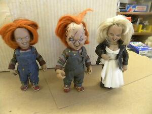 McFarlane Toys 1999 2 CHUCKY & 1 TIFFANY Movie Maniacs Child's Play 2 BRIDE jw