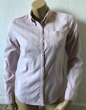 AMERICAN EAGLE Womens Size 6 Pin Striped Button Front Oxford Shirt Long Sleeve