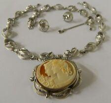 **  Stanco Sterling Silver Cameo Necklace Bracelet & Earrings Set  **