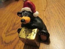 Jeff Fleming BearFoots Bear With Santa Hat and Present Big Sky Carvers Ornament