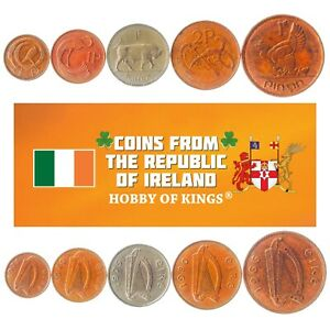 5 IRISH COINS. DIFFERENT COINS FROM ISLAND. FOREIGN CURRENCY, VALUABLE MONEY