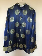 Vintage Navy Blue With Golden Luck Men's Chinese Style Coat  Size XL Brand New