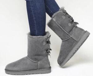 Genuine Ugg Bailey Bow Back Fur Winter Boots Gray Women/Girls Size 4