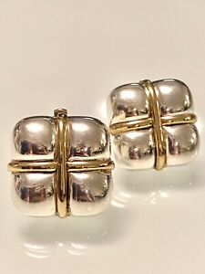 ITALIAN HANDMADE~2 TONE~SQUARE~PUFFY~925 STERLING SILVER~CLIP EARRING~14GR~MINT