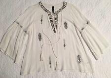 DESIGN LAB Soft White Rayon Crepe Beaded BoHo Tunic Peasant Top Blouse S/P
