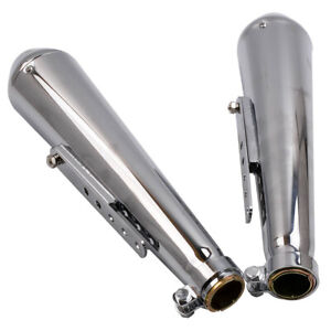 Universal 17 Chrome Reverse Cone Shorty Motorcycle Exhaust Silencer Muffler PAIR