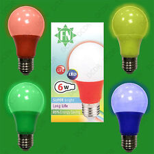 2x 4 Pack LED Coloured GLS A60 LED E27 Light Bulb Lamp, Red, Yellow, Green, Blue