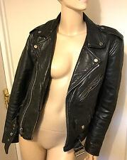 Vintage cuir perfecto Biker Jacket Indie Rétro MEDIUM 38 40 Diamond Gosling