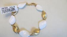 "Arte D'Argento 18K Clad Sterling Twisted White Agate Bracelet 8"""