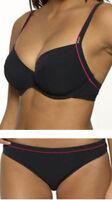 BNWT - Panache Swimwear Grace Black Pink Bikini Top SW0191 - Size 30D 32D