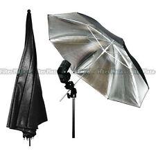 Photography 33'' Studio Flash Light Reflector Black Silver Umbrella