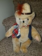 "Vintage jointed Country Bear Plush straw hat jean vest mustache 11"" CUTE"