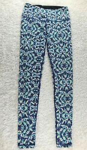 Victoria's Secret VSX Sport blue geometric athletic leggings SIZE XS stretch (Y)