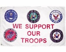 3x5 ft Military We Support Our Troops 5 Branches Service nylon poly Banner Flag