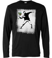 """T-shirt a manica lunga Uomo """"Banksy - Flower Bomber"""" 100% cotone NERO"""