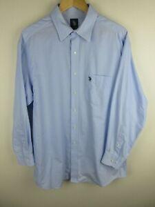 Us Polo Assn. Mens Shirt Size L 16 Long Sleeve Button Up Regular Fit Light Blue