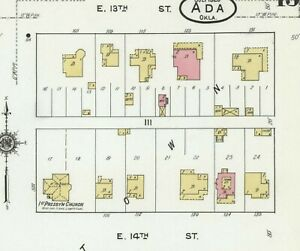Ada, Oklahoma~Sanborn Map© sheets with 42 maps  in full color~1902 to 1920