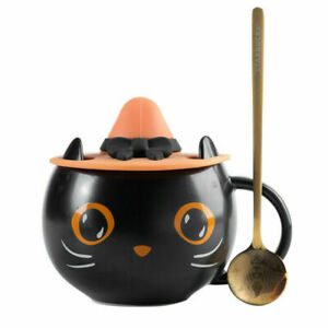 2021 Halloween Gifts Starbucks Black Cat Cup W/Witch Cap Lid&Spoon Water Mug New