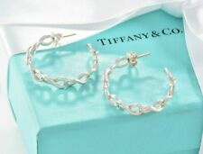 LIMITED Tiffany & Co Sterling Silver Infinity Hoop Earrings +BOX POUCH RIBBON