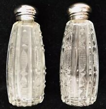 Vintage Pressed Glass Salt and Pepper Shakers with Sterling Silver Caps NICE!