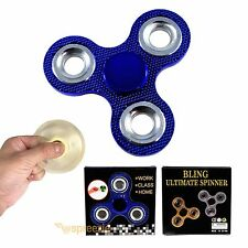 Blue Fidget Hand Spinner Toy BLING Stress Relief Focus EDC Metallic ADHD Anxiety