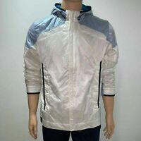 Hugo Boss Green Label Mens Jeevan Windbreaker Hooded Jacket XL White Blue
