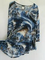 Caribe USA Top Large Blue 3/4 bell sleeve